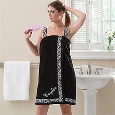 Damask Embroidered Bath Wrap