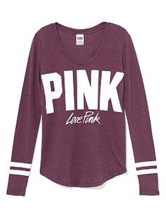 Long Sleeve Campus Pocket Tee - PINK - Victoria's Secret ...