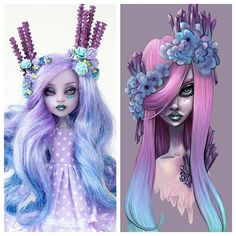"Here is my comparison of my repaint and the original painting of ""Gem"" by the talented . Monster High Crafts, Custom Monster High Dolls, Monster High Repaint, Custom Dolls, Pretty Dolls, Beautiful Dolls, Barbie, Poppy Parker, Doll Painting"