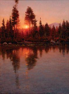 """""""Fiery Farewell"""" oil by Jim Wilcox"""