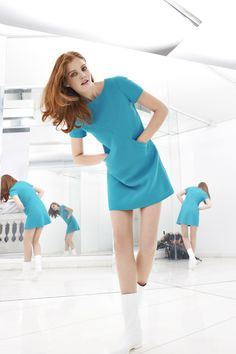 Courreges: Wool crepe dress. Triangular sections disguise two pockets that are incorporated into the diagonal front seams. Invisible back zip. Top stitching. http://www.courreges.com/media/catalog/product/cache/2/image/9df78eab33525d08d6e5fb8d27136e95/1/1/112100-robe-losange-rose-0031_4.jpg http://www.courreges.com//media/catalog/product/cache/2/image/9df78eab33525d08d6e5fb8d27136e95/1/1/112100-robe-losange-blanc-0026_4.jpg http://voguepatterns.mccall.com/v1326-products-44595.php?page_id=174