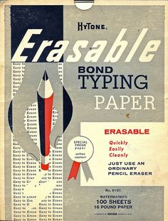 erasable bond typing paper - hytone packaging, c.1960s [via wires in the walls on flickr; link to wires in the walls photostream]