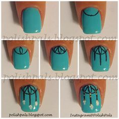 I made this Dream Catcher Nail Art Tutorial a few weeks ago but I never completed this mani so I neglected to post it. Gorgeous Nails, Love Nails, How To Do Nails, Pretty Nails, Starbucks Nails, Dream Catcher Nails, Dream Catchers, Nail Art Designs, Romantic Nails