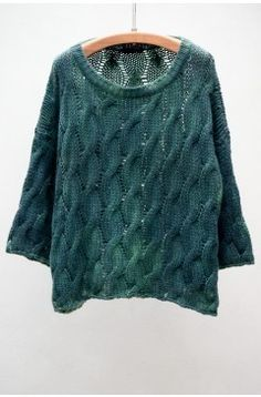 Avant Toi Green Cable Knit pullover from shopheist