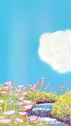 a piercing whistle of pure joie de vivre — aprettyfire: Ghibli + Flowers Art Studio Ghibli, Studio Ghibli Movies, Anime Scenery Wallpaper, Wallpaper Backgrounds, Aesthetic Art, Aesthetic Anime, Studio Ghibli Background, Japon Illustration, Kawaii Wallpaper