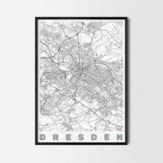 Dresden art prints -Art posters and prints of your favorite city. Unique design of a map. Perfect for your house and office or as a gift