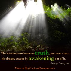 """""""The dreamer can know no truth, not even about his dream, except by awakening out of it."""" ~ George Santayana. Explore dream meaning at TheCuriousDreamer.com...  #dreamquotes #dreammeaning"""