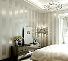 Made in China, non-woven wallpaper living room bedroom study plain solid color stripes vertical stripes wallpaper / p136