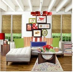 """Lots of color in this living room paired with white couch and natural woven wood shades. """"family living room"""" by strawberryapricotpie on Polyvore"""