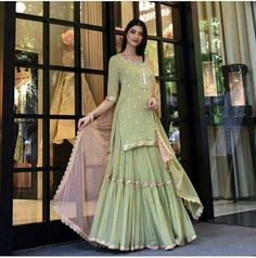 Designer Yellow Green Georgette Sharara Suit – pictures world Pakistani Dress Design, Pakistani Dresses, Indian Dresses, Pakistani Sharara, Anarkali Lehenga, Lehenga Suit, Blue Lehenga, Walima, Indian Wedding Outfits
