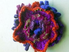 pink crochet flower pin /textile necklace/ by BAGSBAGSBAGSBAGS