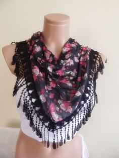 scarf with lace fashion scarf by timeshopping on Etsy, $12.90