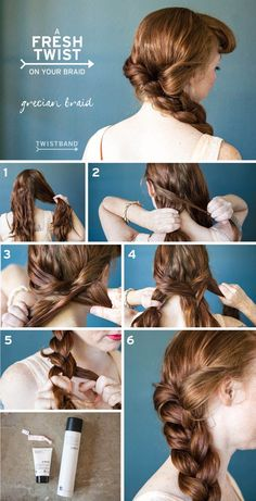 Catch our Grecian Braid Tutorial with a grapefruit tie dye Twistband hair tie on our blog! It's the perfect easy hair tutorial for summer! #hair #tutorial #twistband