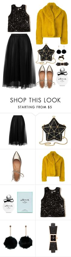 """Let's Party Girls"" by kiki-bi ❤ liked on Polyvore featuring Valentino, Aspinal of London, Sigerson Morrison, Jean-Paul Gaultier, Kate Spade, Hollister Co., Christmas, flats, glitter and partystyle"