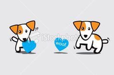Jack Russell Terrier Dog with Heart Shaped Sign Royalty Free Stock Vector Art Illustration
