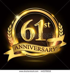 61st golden anniversary logo with ring and ribbon, laurel wreath vector design. - stock vector