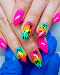 Cute Summer Nail Designs to Copy Right Now Amazing palm tree nails pink design palm tree nails pink design 2 Cute Summer Nail Designs, Cute Summer Nails, Beautiful Nail Designs, Cute Nails, Pretty Nails, Nail Summer, Summer Design, Neon Nails, Swag Nails