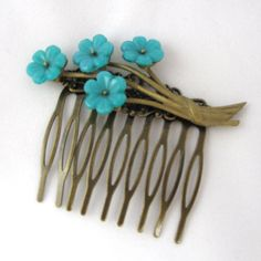 Vintage Bridal Hair Comb with blue flowers - Collage Wedding Hair Piece- Hair Accessories- fascinator on Etsy, 197,18kr