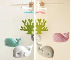CREATOR OF THE ORIGINAL 5-SET FUN ANIMALS WOOL-FELT BABY MOBILE SINCE 2006! HAND-CRAFTED & THOUGHTFULLY DESIGNED FOR STYLISH - CHIC - MODERN BABY NURSERY  Baby Mobile Title: WHALES TALE Deco*Mobile  Colors: Artists Choice colors in AQUA theme or LILAC theme as seen in featured photo #1 & #2 Also available in custom colors!  Adding music: This particular mobile design is only available with musical box playing Brahms Lullaby tune (not music button). If you do not wish to add musical box well…