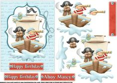 Pirate Birthday Fun on Craftsuprint designed by Carol Smith - a decoupage sheet for the young pirate has the pirate ship with the crew on the lookout for treasure island, co-ordinating tag says happy birthday also Ahoy matey and a blank tag for the greeting of your choice, great for son or grandson but perfect for any young boy.thank you for looking please take a peek at my other items - Now available for download!