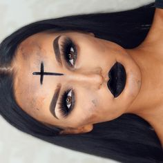 WEBSTA @ hollyboon__ - Black like my soul. JKKKKKKEyebrows @anastasiabeverlyhills dip brow (dark brown)Lashes @houseoflashes iconic Foundation @iconic.london stick Lips @iconic.london black matte liquid lipstick! ⚰️⚫️⛪️
