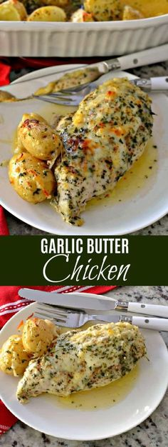 Garlic Butter Chicken is a family friendly easy recipe that combines chicken breasts and baby potatoes with fresh garlic, butter and mozzarella. Baby Food Recipes, Chicken Recipes, Cooking Recipes, Dinner Recipes, Fast Recipes, Healthy Recipes, Simple Recipes, Dinner Ideas, Healthy Food