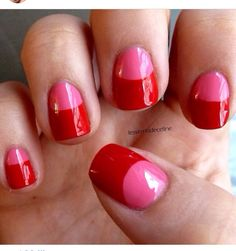 pink and red gel nails