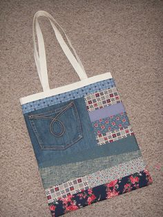 Upcycling freebie calico bag covered with patchwork using scraps and old denim