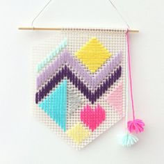 Handwoven colourful geometric pattern banner by FizzyLimeCreative, $39.60