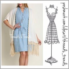 Chambray Mini Shift Dress (S,M,L) Tried and true fave indigo chambray sleeveless denim shift dress with removable belt. Always a go to favorite staple for any closet. S, M, L Threads & Trends Dresses