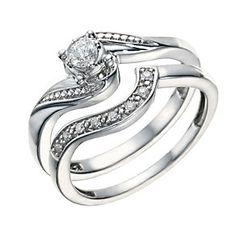 Argentium Silver 0.15 Carat Diamond Bridal Ring Set - Product number 1672886