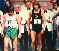 Steve Prefontaine, 157, places 5th in the mile event of the Los Angeles Times Indoor Meet, at The Forum arena, Inglewood, February 7, 1975. Pre next to New Zealander John Walker waiting to start the race | Flickr - Photo Sharing!