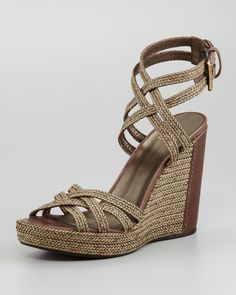 Stuart Weitzman Reins Braided Leather Crisscross Wedge Sandal in Brown (dk taupe) | Lyst