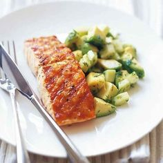 Char-Grilled Salmon with Avocado, Cucumber & Dill Salad