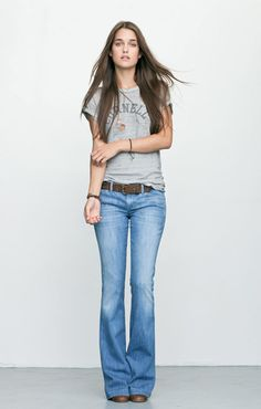 flare jeans and heather gray tee