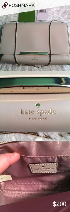 Kate Spade Hanley Camden Way in Pebble 🆕 NWT Gorgeous clutch with soft  leather in pebble, gold chain and trim. Snap closure. Light pink lining. Very classy and compact yet plenty of space for your essentials. RV $248. This bag will never go out of style. A great addition to your collection or a fantastic choice for your first luxury bag. 💐 Kate Spade Bags Clutches & Wristlets