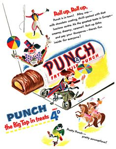A charmingly illustrated ad for Fry's Punch chocolate bars from the 1950s featuring circus scenes.