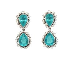 Silvia Furmanovich - 18 carat gold, diamond and paraíba tourmaline earrings.