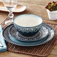 Better Homes and Gardens Teal Medallion 12-Piece Dinnerware Set, Teal - Walmart.com
