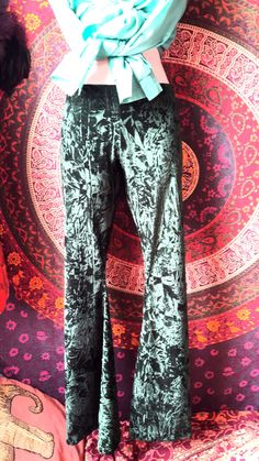 Crushed velvet green flates bell bottoms festival pants by BOODWAH on Etsy