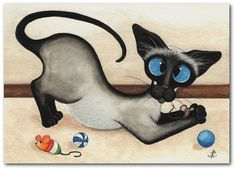 Siamese Cat Mouse Fun Toys - Siamese Cat ArT - 5x7 Print by AmyLyn Bihrle