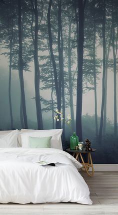 Discover calming interior design with a moody forest wallpaper. Featuring a sea of trees in deep misty hues, this wallpaper can transform any room into a serene hideaway. Display on a tall wall to feel the maximum impact of this mysterious mural. Forest Mural, Tree Forest, Forest Wallpaper, Nature Wallpaper, Master Bedroom, Bedroom Decor, Bedroom Green, Bedroom Ideas, Forest Bedroom
