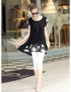 9.24$  Watch more here  - New Fashion Women Chiffon Blouse Embroidery Crew Neck Short Sleeve Loose Fit Casual Tops White/Black
