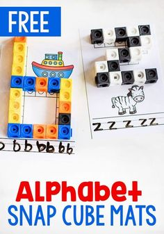 These free printable alphabet snap cube mats are a great alphabet activity for kindergarteners. Work on fine motor skills while learning the alphabet. Abc Centers, Kindergarten Centers, Kindergarten Activities, Preschool Activities, Hands On Learning Kindergarten, Letter S Activities, Phonics Centers, Literacy Centres, Reading Centers