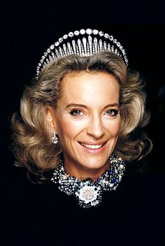 princess michael wearing city of London fringe tiara coupled with diamond necklace on top of tiara.
