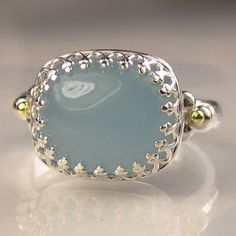 Milky Aquamarine in Sterling and 18k Gold by JanishJewels on Etsy, $162.00