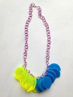 Chunky Lemon Necklace – Fluo Green and blue on a pink chain – Laser Cut £35.00
