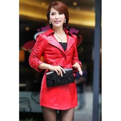 red leather dresses for women | Red Leather 3/4 Long Sleeve Single Breasted Belted Dress Jacket Women ...