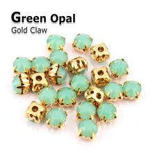 naai de strass kristal groene opaal steen gouden klauw strass diamant stenen en kristallen voor bruiloft jurken kleding decoratie(China (Mainland))
