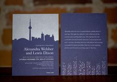 Laura K Toronto Skyline Wedding Invitation and Reply Card.     Other city skylines available!